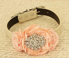 Peach Flower dog collar, Pet wedding accessory,  Rhinestone, Dog collar,Dog birthday gift, Dog lovers, Rhinestone dog collar, Peach wedding