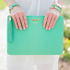OBSESSED with this island green Python Embossed Uber Clutch donated by GiGi New York for Mental Health Awareness Month. Giving one away on the blog (5/1-5/15)!