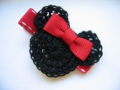 Minnie Mouse Crochet Hair Clip I want this for Whitney