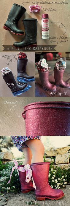"DIY Glitter Rain boots, so cute!    This is awesome.  I am not exagerating...two days ago I found Judah's old rainboots and Aspen was wearing them and I wondered, ""Hmmm I wonder if I can paint these to be girly?!"" Will have to do this ASAP!"