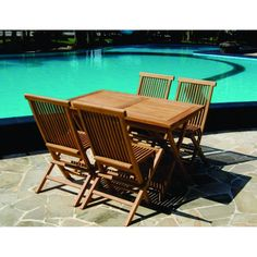 Relax in your garden with the Vineyard Teak table and chairs set, including one rectangular table and four folding chairs. This set is made of solid teak, and the table and chairs are foldable, functional and practical in a beautiful casual environment.