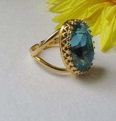 Vintage Ring, Large Light Turquoise Swarovski , Fancy stone Blue Swarovski Ring,Bridal Jewelry Bridesmaid Jewelry- Free US shipping