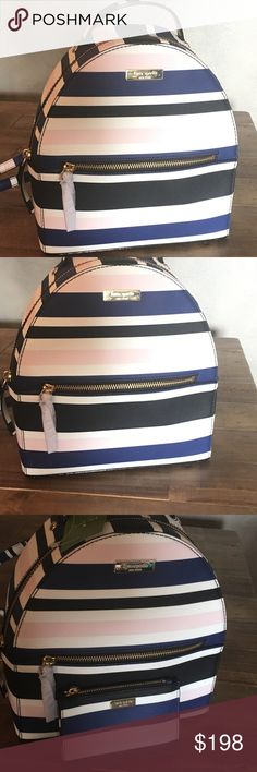 Kate Spade strip backpack Gorgeous Kate Spade Backpack with stripes in blue pink and white. Adjustable shoulder straps. kate spade Bags Backpacks