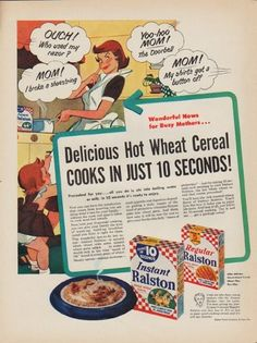 "Description: 1952 RALSTON PURINA vintage print advertisement ""Delicious Hot Wheat Cereal"" -- Wonderful News for Busy Mothers ... Delicious Hot Wheat Cereal Cooks In Just 10 Seconds! Precooked for you ... all you do is stir into boiling water or milk. In 10 seconds it's ready to enjoy. -- Size: The dimensions of the full-page advertisement are approximately 10.5 inches x 14 inches (26.75 cm x 35.5 cm). Condition: This original vintage full-page advertisement is in Excellent Condition unless…"