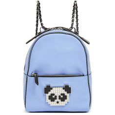 les petits joueurs Baby Mick Metal Panda Backpack ($735) ❤ liked on Polyvore featuring bags, backpacks, blue, panda bear bag, panda bag, studded bag, panda bear backpack and knapsack bag