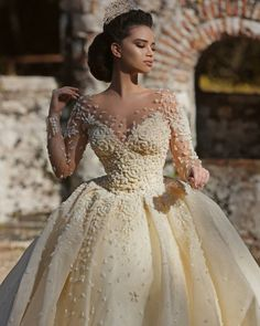 Frida Xhoi&Xhei wedding gown princess style with sleeves Muslim Wedding Dresses, Princess Wedding Dresses, Dream Wedding Dresses, Bridal Dresses, Wedding Gowns, Gothic Wedding, Wedding Bride, Beautiful Gowns, Beautiful Bride
