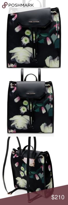 """Last call Ted Baker floral print backpack Host Pick x2 This stylish Ted Baker backpack is the perfect choice for any season. Black with floral print nylon and leather. Roomy enough to carry that tablet from r school, work or shopping. 100% Authentic new with tag. Comes with dust bag. 13""""x 11.5""""x5"""". Ted Baker Bags Backpacks"""