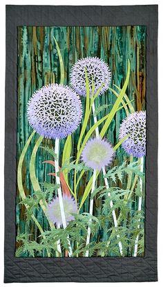 Globe Thistle art quilt by Aileyn Ecob   Fiber On the Wall