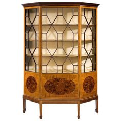 LIVING ROOM WALL? TOO FANCY / BUSY? Edwardian Period Mahogany Display Cabinet | From a unique collection of antique and modern vitrines at https://www.1stdibs.com/furniture/storage-case-pieces/vitrines/