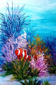 Surfboard Painting, Mural Painting, Paintings, Sea Murals, Wall Murals, Beach Mural, Underwater Painting, Sea Art, Fish Art