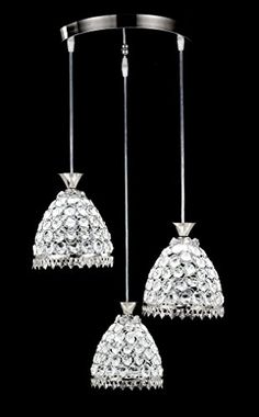 Top Lighting Modern LED Crystal Chandelier Chrome Finish Metal Shade 3light Hanging Pendant Ceiling Lamp Fixture Bulbs Included >>> To view further for this item, visit the image link. (Note:Amazon affiliate link) #Lighting