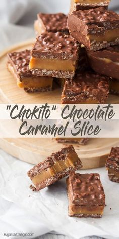 "This ""Chokito"" Chocolate Caramel Slice is my take on that famous Australian treat, the Chokito chocolate bar. Easy caramel fudge sandwiched between two layers of chocolate and rice krispies. via yummy food ""Chokito"" Chocolate Caramel Slice Chocolate Caramel Slice, Chocolate Caramels, Chocolate Recipes, Caramel Fudge, Chocolate Bars, Salted Caramel Slice, Caramel Candy, Caramel Recipes, Chocolate Treats"
