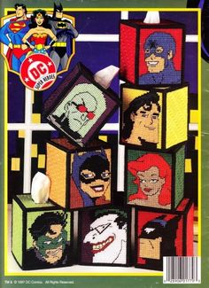 If anybody can find this let me know!!!. DC COMICS SUPER HEROES Tissue Boxes In Plastic Canvas Instructions