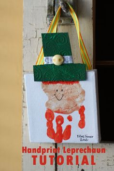 Easy handprint leprechaun tutorial. Perfect St. Patrick's Day craft