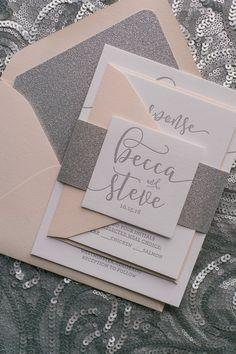 Blush and Silver Glitter Letterpress Wedding Invitations by Just Invite Me