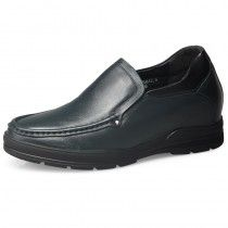 cd05aa14a9e8d Blue soft leather / outsole business casual boat shoes 6.5cm / 2.56inch men  elevator loafers