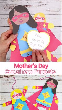 Mother's Day Superhero Puppets - - This printable Mother's Day Superhero Puppet Craft is such a fun way to show Mom or Mum how super special she is! multicultural options to choose from. Craft Kits For Kids, Mothers Day Crafts For Kids, Fathers Day Crafts, Mothers Day Cards, Diy For Kids, Mothers Day Special, Craft Ideas, Father's Day Activities, Mother's Day Projects