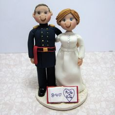 Reserved for Rob and Liz  balance due for a custom Civil War era Wedding Cake Topper by clayinaround on Etsy