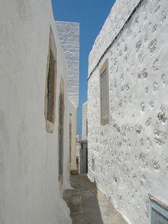 as narrow as it can get…Patmos,Greece Mediterranean Architecture, Mediterranean Sea, Greece Islands, My Land, Serenity, Greek, Explore, Beach, Places