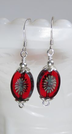 This simple pair of earrings are absolutely fabulous. Red Czech Glass Dangle and Sterling Silver Earrings, Boho Jewelry, Unique Gifts For Her