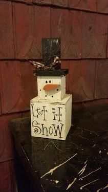 Baby Snowman Stack Set :: 16 in. tall   Wood Craft items :: WINTER :: Wholesale Country Primitive Gifts/ Kp Home Collection