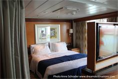 Bedroom, Grand Suite, Navigator of the Seas Navigator Of The Seas, Cruise Ships, Vacations, To Go, Bedroom, Places, Furniture, Home Decor, Lugares