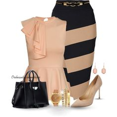 A fashion look from May 2015 featuring navy blue dress, patent leather shoes and chain strap handbags. Browse and shop related looks. Latest Outfits, Mode Outfits, Business Casual Outfits, Classy Outfits, Professional Attire, Stripe Skirt, Work Attire, Work Fashion, Types Of Fashion Styles