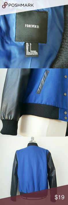 FV21 Bomber Jacket - Faux leather Sleeves - Worn Once! - FV21 - Electric Blue - Size L (fits like a medium ), 24in L, 28in Sleeve, 21 chest - Gunmetal snap buttons, ribbed trim Forever 21 Jackets & Coats