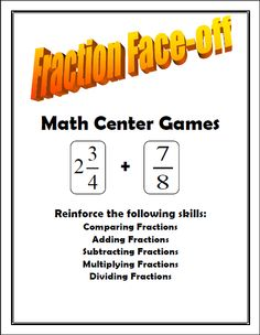 Great for Math Centers: Review of Fractions!