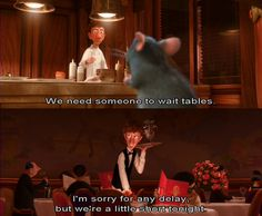 How long are the customers waiting for their meal in the final act of the film? Pixar, Ratatouille 2007, Mel Gibson, Christian Bale, Need Someone, Acting, Writer, Meal, Romance