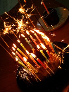 birthday cake candles and sparklers