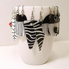 Black, White and Red Hand Painted Paper Earrings by Lee Owenby, featured in Paper Jewelry Round Up - Part One.