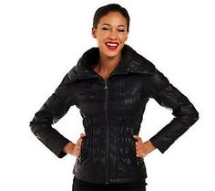 12f0b7c5c2b8b G.I.L.I. Maxi Collar Zip Front Faux Leather Jacket w Seam Detail — QVC.com. Lisa  RobertsonFaux ...