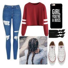 """""""Teen outfit"""" by areli06moreno on Polyvore featuring Topshop, Converse and Emi-Jay"""
