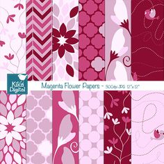 This Magenta Floral Digital Papers pack includes 12 floral digital scrapbook papers in high resolution. This Pink Floral papers set is suitable for scrapbook, card design, invitation making, stickers, jewelry, paper crafts, web design, and a lot more.