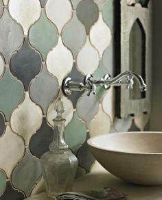 Moroccan tiles from fired earth Moroccan Tile Backsplash, Moroccan Tiles, Moroccan Lanterns, Moroccan Decor, Moroccan Bathroom, Eclectic Bathroom, Bathroom Interior, Floor Design, House Design