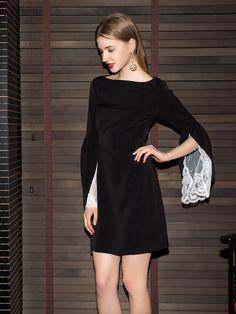 f11d7f0e504 US $55.0 |Aliexpress.com : Buy YIGELILA 6887 Latest New Fashion Elegant O  neck Lace Sleeve Women Black Dress from Reliable lace dress black suppliers  on ...