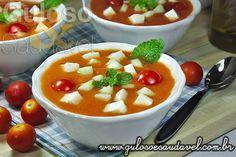 Sopa de Tomate Fria ou Gaspacho » Receitas Saudáveis, Sopas » Guloso e Saudável