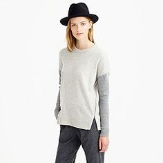 Lambswool zip sweater in colorblock