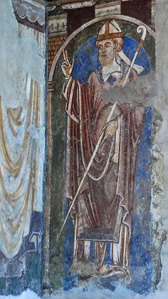 Medieval painting of St. Cuthbert from the Galilee Chapel of Durham Cathedral.
