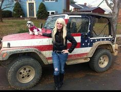 Country music singer, Ashley Forrest, with her stars and bars Jeep and her lil dog Yoshi... her CD just launched (seven hundred miles) check it out!