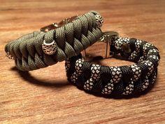 Paracord armbanden grijs / zwart met zilveren sluiting. #diamondcord #paracordarmbandmetbedel