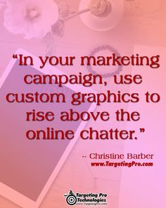 """🖼 CATCH ATTENTION WITH COMPELLING GRAPHICS! 🎨 """"In your marketing campaign, use custom graphics to rise above the online chatter."""" ~ Christine Barber / Targeting Pro Technologies ~ www.TargetingPro.com 👓 #Marketing #SmartMarketing #SmallBusiness #B2B #B2C #Business #MarketingStrategy #MarketingAnalysis #MarketingSpecialist #GraphicDesigner #BusinessGraphics #MarketingGraphics #graphicdesign #graphiccontent #marketingdigital #marketingtips #marketingagency"""