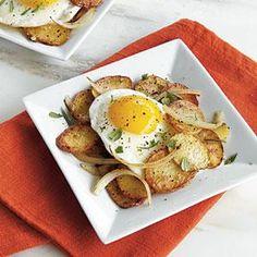 Potato Coins with Fried Eggs Recipe | MyRecipes.com