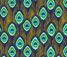 peacock feathers ikat gold fabric by katarina on Spoonflower - custom fabric