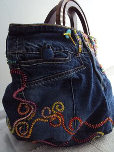 SALE Ultimate Purse Embroidered Beaded Denim Handcarved Shell