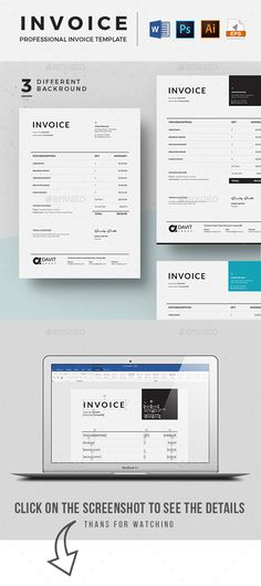 Invoice Page Resume Word Template  Cv Template With Super Clean And Modern Look .