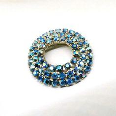 Blue Rhinestone Brooch - Vintage, Silver Tone, Aurora Borealis Rhinestones, Circular Pin by MyDellaWear on Etsy