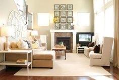 Country chic living room design with light brown furniture and carpet | Decolover.net