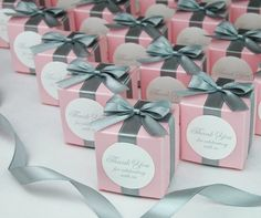 Light pink & Silver Wedding bonbonniere with bow and custom tag, Elegant Personalized Wedding Thank you favor boxes for guests. Candy Wedding Favors, Elegant Wedding Favors, Wedding Gift Boxes, Wedding Gifts For Guests, Wedding Thank You, Destination Wedding Welcome Bag, Wedding Welcome Bags, Cajas Silhouette Cameo, Pink Silver Weddings